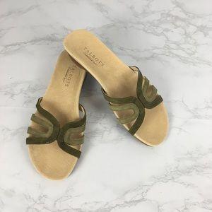 Talbots dark green suede leather slip flat sandals